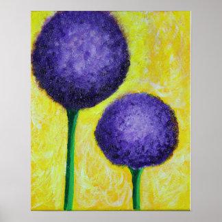Póster flor de la púrpura del allium