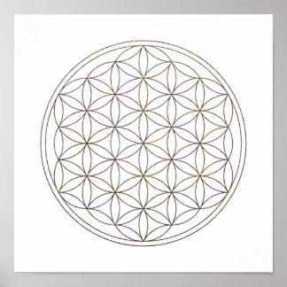 Póster Flor sagrada de la geometría de la vida