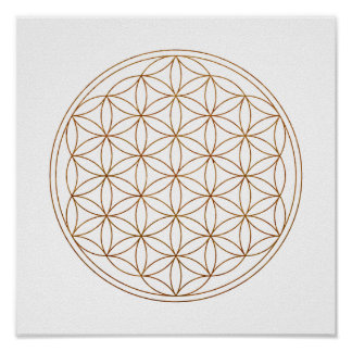 Póster Flor sagrada de la geometría de la vida (V-Alheña)
