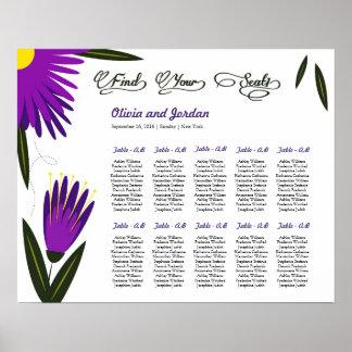 Poster floral de la carta del asiento del boda póster