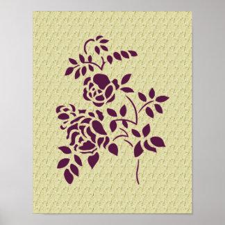 Poster floral de los rosas del arte púrpura de la