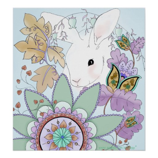 Poster floral fresco del conejo