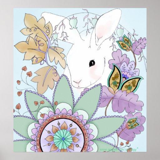 Poster floral fresco del conejo póster