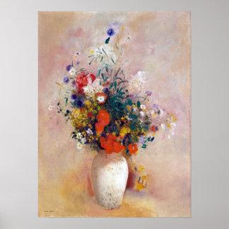 Póster Florero de Odilon Redon de las flores (fondo