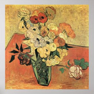 Póster Florero, rosas y anémona-Vincent japoneses Van