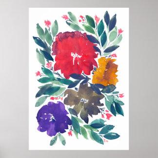 Póster flores pintadas a mano 3a