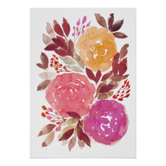 Póster flores pintadas a mano 3c