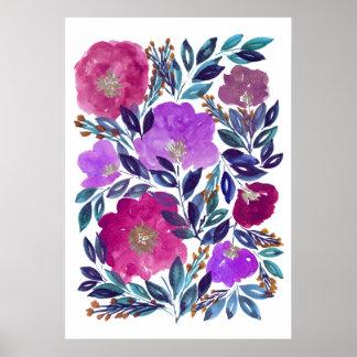 Póster flores pintadas a mano 3d