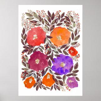 Póster flores pintadas a mano 3f