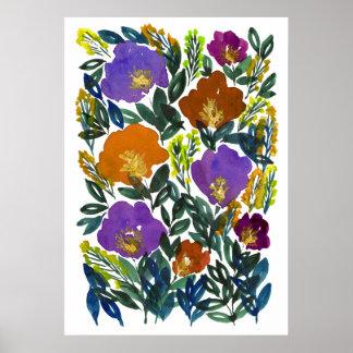 Póster flores pintadas a mano 3g