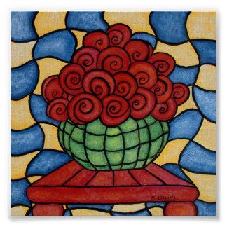 Póster Flores rojas abstractas caprichosas