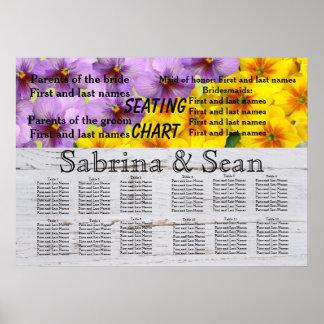 Póster Flores románticos de la carta del asiento del boda