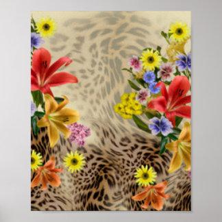 Póster Flores y estampado leopardo coloridos