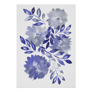 Póster flowers2 pintado a mano