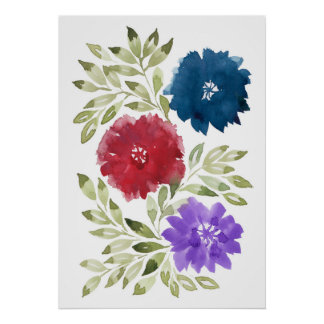 Póster flowers2d pintado a mano