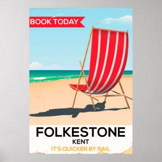 Póster Folkestone Kent, poster BRITÁNICO de la silla de
