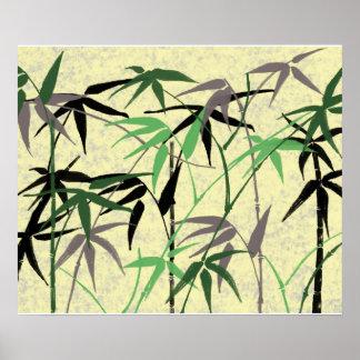 Póster Follaje de bambú, hojas, lanzamientos - amarillo