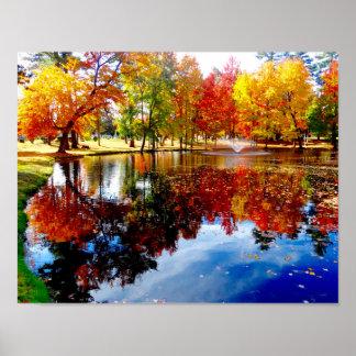 Póster Follaje de otoño en la charca