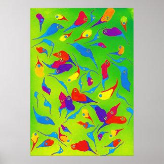 Póster Formas brillantes del color de la acuarela del