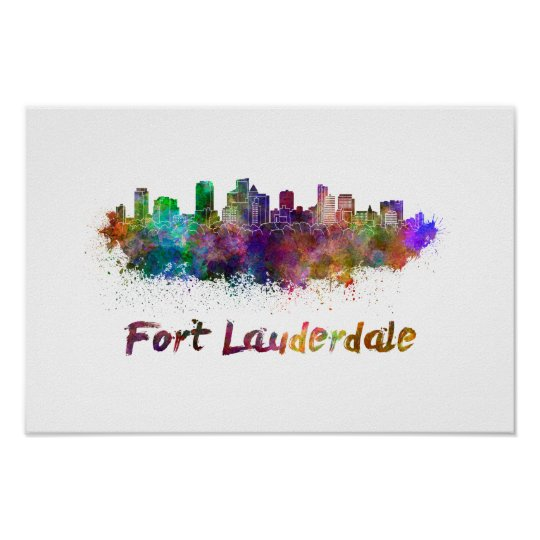 Póster Fort Lauderdale skyline in watercolor