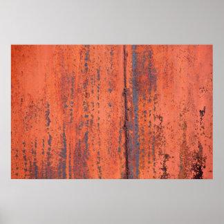 Póster Foto abstracta del metal aherrumbrado pintado