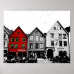 Póster Foto blanco y negro de Bergen Noruega con la casa