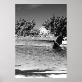 Póster Foto blanco y negro de la escena del naufragio de