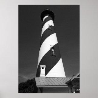 Póster Foto blanco y negro del faro de St Augustine