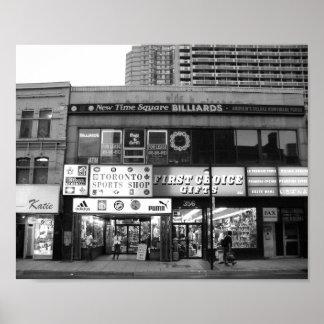 Póster Foto blanco y negro del frente de la tienda de