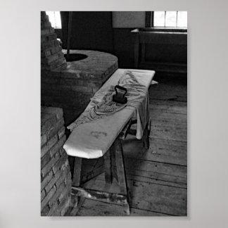 Póster Foto blanco y negro del tablero antiguo del hierro
