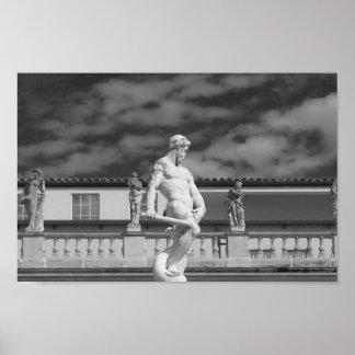 Póster Fotografía blanco y negro de la estatua