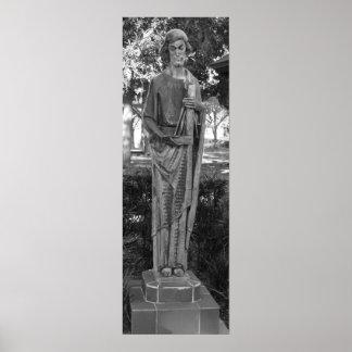 Póster Fotografía blanco y negro de la estatua de San