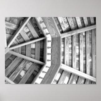 Póster Fotografía blanco y negro de madera