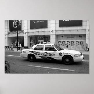 Póster Fotografía blanco y negro del coche policía de