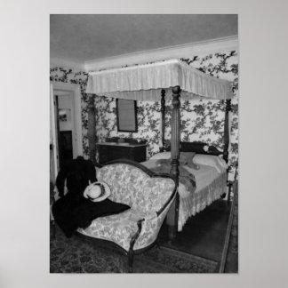 Póster Fotografía blanco y negro del dormitorio del