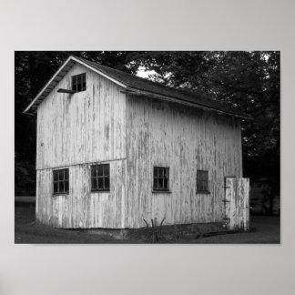 Póster Fotografía blanco y negro del granero del país