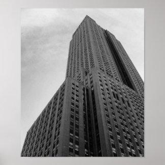 Póster Fotografía blanco y negro del rascacielos de NYC
