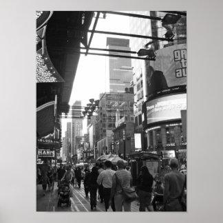 Póster Fotografía blanco y negro del Times Square NYC