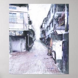 Póster Fotografía pintada islas de Hong Kong