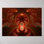 Póster Fractal moderno abstracto luminoso del rojo