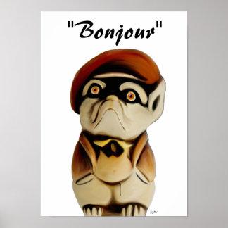 Poster francés de Bonjour del perro