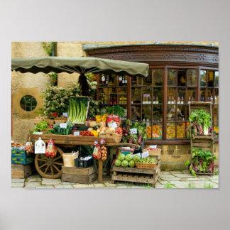Póster Fruta y tienda inglesa colorida del pueblo de Veg