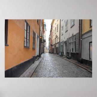 Póster Gamla Stan, Estocolmo, Suecia; Calle del guijarro