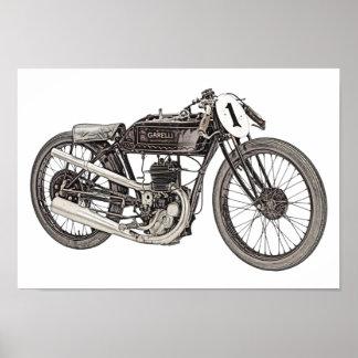 Póster Garelli 1926 que compite con la motocicleta