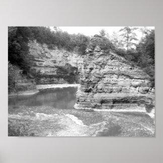 Póster Garganta blanco y negro del río de la foto