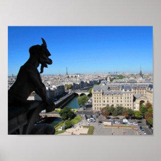 Póster Gargoyle de Notre Dame y vista de París