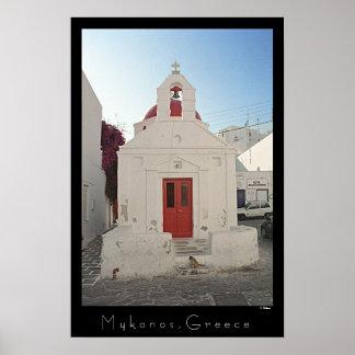 Póster Gatito de la iglesia - Mykonos