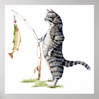 Póster Gato con un pescado