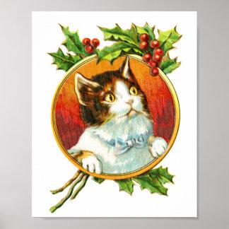 Póster Gato de lujo con navidad del vintage de la baya el