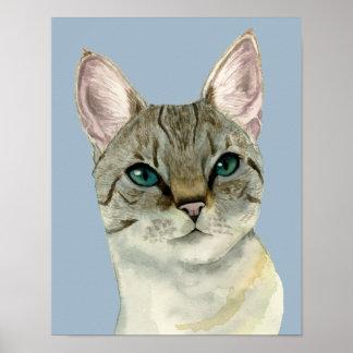 Póster Gato de Tabby con la acuarela bonita de los ojos